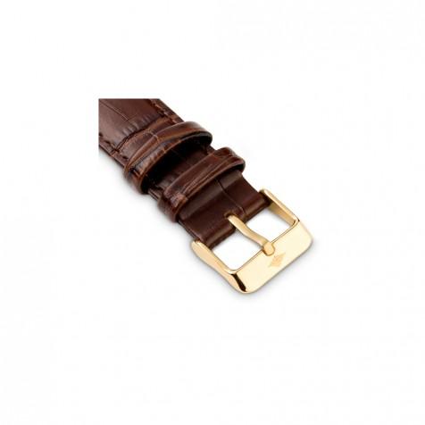 حزام جلد بني داكن كلاسيك